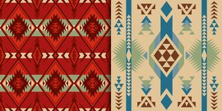 Native Southwest American, Indian, Aztec, Geometric, Navajo and. Ethnic seamless patterns. Native Southwest American, Indian, Aztec textiles. Navajo and Pueblo vector illustration
