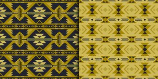 Native Southwest American, Indian, Aztec, Navajo seamless patterns. Geometric design. Set of Aztec geometric seamless patterns. Native American, Indian Southwest vector illustration