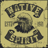 Native spirit poster with eagle Royalty Free Stock Image