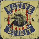 Native spirit poster with eagle Stock Image