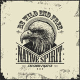 Native spirit poster with eagle. Illustration Stock Photo