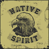 Native spirit poster with eagle. Vector illustration Stock Photos