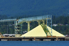 Native sulfur dock storage with conveyors Stock Image