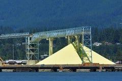 Native sulfur dock storage with conveyors. Native yellow sulfur dock storage in Vancouver harbor Stock Image