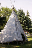 Native Tee Pee. A closeup view of a native tee pee during an annual powwow held during the late springtime stock photos
