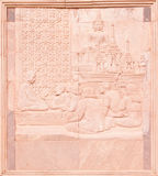 Native Thai art on low relief sculpture Royalty Free Stock Photos