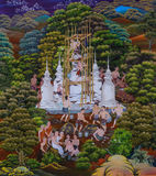 Native Thai mural painting of Thai Buddhist festival Stock Photography