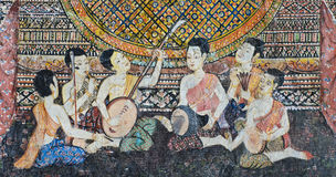 Native Thai mural on temple wall Royalty Free Stock Photography