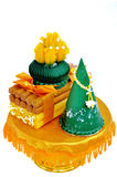 Native Thai style of candle and incense in decorations tray Stock Images