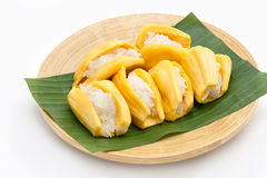 Native Thai style dessert, sticky rice in jack fruit. Royalty Free Stock Image