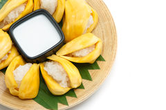 Native Thai style dessert, sticky rice in jack fruit. Stock Image