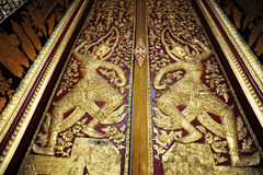 Native Thai style pattern on door temple Royalty Free Stock Images