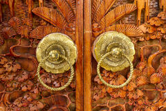 Native Thai style wood carving Royalty Free Stock Photo