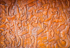 Native Thai style wood carving in public temple, vignette backgr Royalty Free Stock Photos