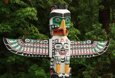 Native Totem Pole, Vancouver BC Canada. Royalty Free Stock Photos