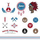 Native tribal designs. Set of native American tribal inspired designs and icons Royalty Free Stock Photography