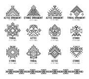 Native tribal icon set. Line art geometric logo, aztec and indian culture design collection and ornament. Ethnic style vector isolated on white background stock illustration
