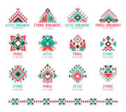 Native tribal pattern set. Colorful geometric design, aztec and indian culture design collection and ornament. Flat style vector logo isolated on white Stock Photos