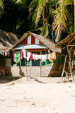 Native tropical house on the beach of bantayan island, Santafe Philippines, 08.11.2016. Royalty Free Stock Photography
