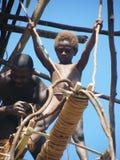 Native Vanuatu child. Native child in the island of Pentecost, Vanuatu taking part in the land dive ceremony Stock Images