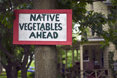 Native Vegetables Sign Royalty Free Stock Images
