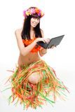 Native woman in bikini with laptop Royalty Free Stock Photo