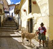 Native Woman from Peru with Lama. Native quechua woman with lama in colonial street of picturesque neighborhood of San Blas, Cusco, Peru Royalty Free Stock Images