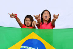 Native Young Brazilian Supporters Royalty Free Stock Photography