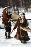 Natives. Of Russia play national tools and sing Royalty Free Stock Photography