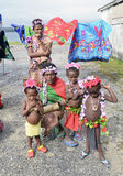 Natives. Group of native girls welcome our cruise ship to their Island of Santo, Vanuatu, in the South Pacific 25-06-2013km Stock Photo