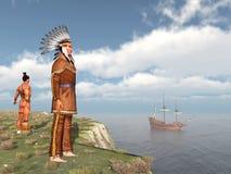 Nativi americani e il Mayflower Fotografia Stock