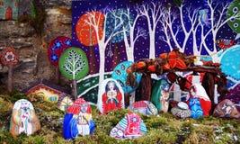 Natividad de piedras coloreadas Imagen de archivo libre de regalías