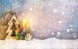 Natividad debajo de la nieve Imágenes de archivo libres de regalías