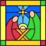 Natividad en vidrio manchado Fotografía de archivo libre de regalías