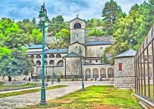 Natividade da Virgem Maria abençoada, Montenegro do monastério de Cetinje ilustração royalty free
