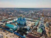 Natividade de nossa senhora Monastery e catedral do ícone de Vladimir da mãe do deus em Zadonsk foto de stock royalty free