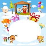 Natividade em Bethlehem com animais - quadro do oval do vetor do Natal ilustração stock