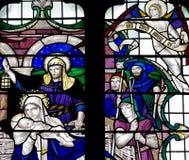 A natividade: o nascimento de Jesus Christ no vitral Fotos de Stock Royalty Free