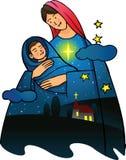 Natividade - Virgin Mary com vagabundos ilustração do vetor