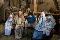 Natividade viva em Canale di Tenno, Itália foto de stock