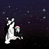 Natività della famiglia e vettore santi delle stelle Immagini Stock