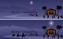 nativité de Noël de drapeaux Photographie stock