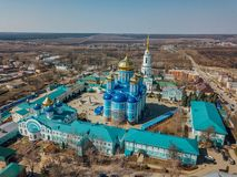 Nativit? della nostra signora Monastery e cattedrale dell'icona di Vladimir della madre di Dio in Zadonsk immagini stock libere da diritti