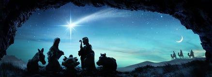 Nativity του Ιησού με την ιερή οικογενειακή σκηνή Στοκ φωτογραφία με δικαίωμα ελεύθερης χρήσης