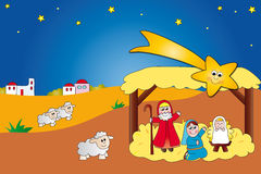 Nativity. Scene with Jesus, Mary and Joseph Stock Photo