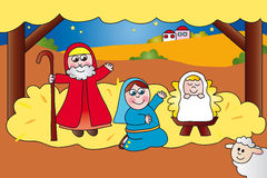 Nativity. Scene with Jesus, Mary and Joseph Stock Photos