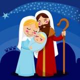 Nativity. Jesus, Mary and Joseph under the shining star of Bethlehem Stock Images