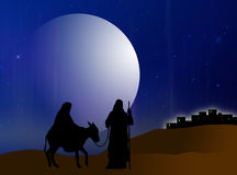 Nativity. Virgin Mary and Joseph are on track to Belem Royalty Free Stock Image