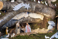 Nativity. Scene: the cave with the baby Jesus, Mary and Joseph royalty free stock photos