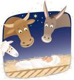 Nativity. Animals looking at little Jesus Stock Photos